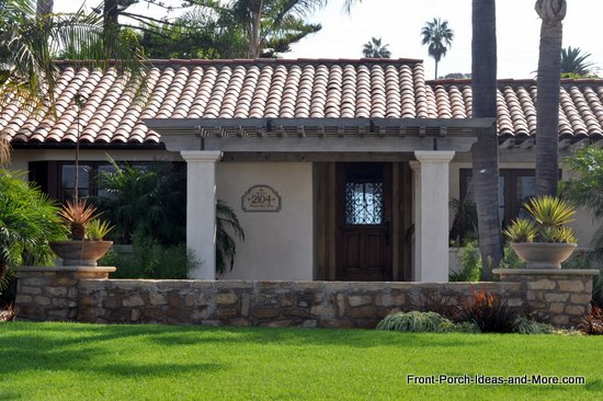 Rancho Palos Verde front porch with tiled roof and romanesque style columns