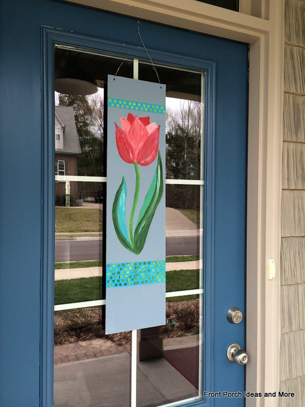 Spring decorating idea close-up: paint a tulip banner for your front door!