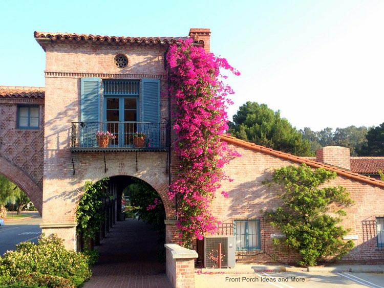 beautiful scene in Palos Verdes CA of Tuscan-inspired building