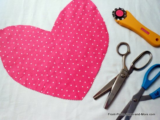 pink heart in polka dot fabric