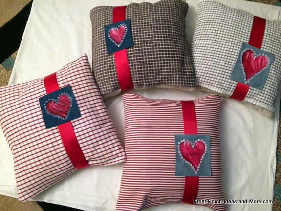 Porch pillows covered with tea towels and hearts for Valentine Day