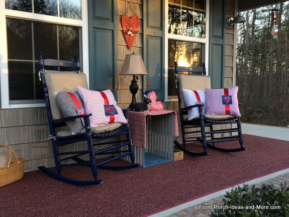 valentine pillows on our porch
