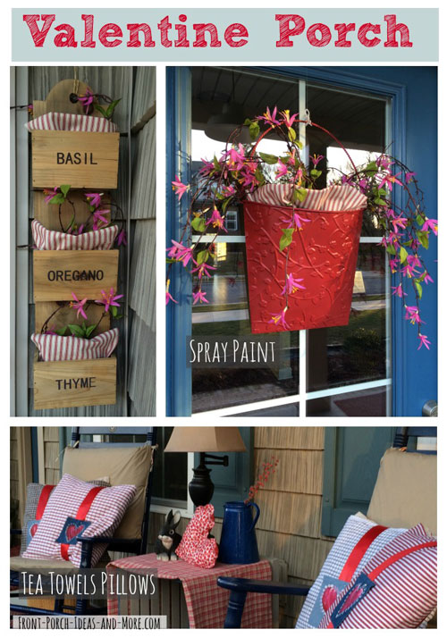 Valentine porch decor using tea towels, ribbon and a metal basket that is freshly spray painted.