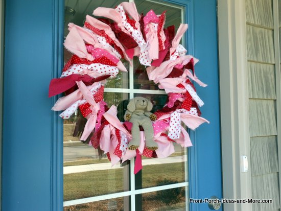 Valentine wreath on front door