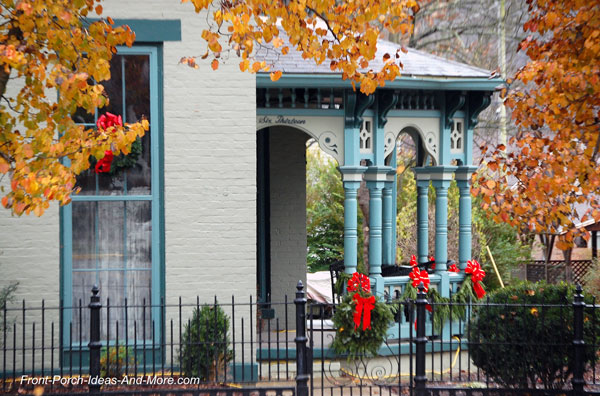 front porch decorated for christmas in madison indiana