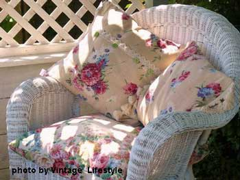 Wicker chair with cushions