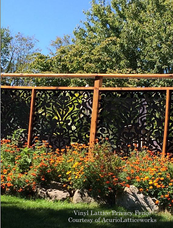 vinyl lattice fence in garden