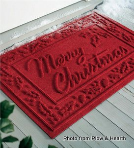 Waterhog door mat with Merry Christmas greeting from Plow and Hearth