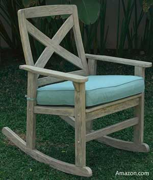 Weathered rocker with light blue cushion