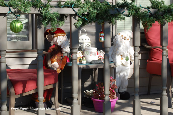 whimsical christmas display on front porch
