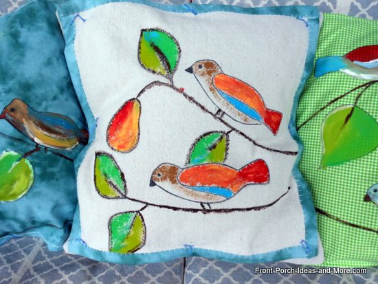 Our spring pillow topper - sweet birds - painted on painters drop cloth