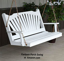 White fanback designed porch swing at Amazon