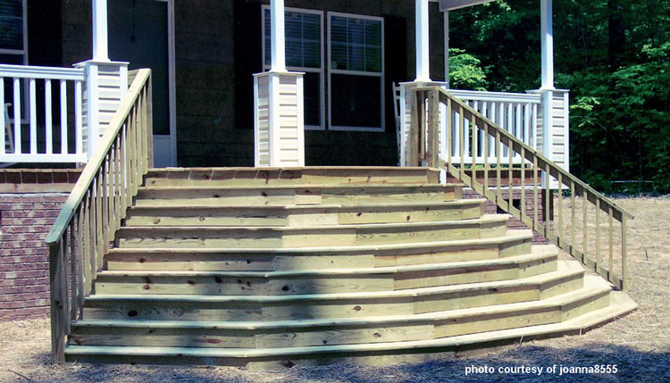 wide woodenFront porch steps