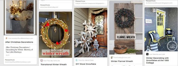 Snapshot of our Winter White Porch Decorating board on Pinterest - please follow us