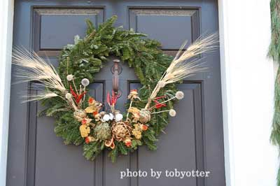 Christmas wreath with wheat shafts