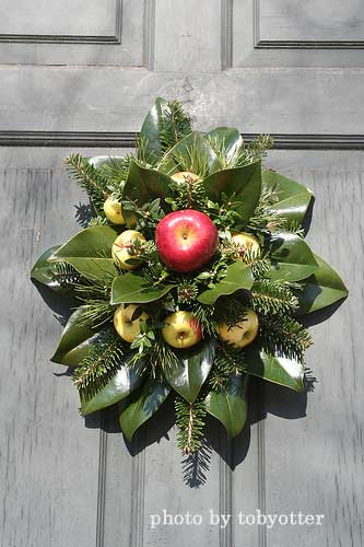 hand-made wreath from eucalyptus leaves