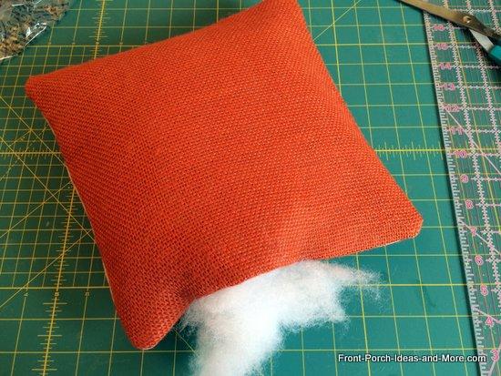 Stuff the pillow with fiberfill but not too full - just medium full.
