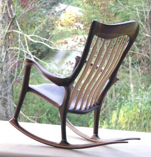 Lindau Hand-crafted-rocking chair left rear view