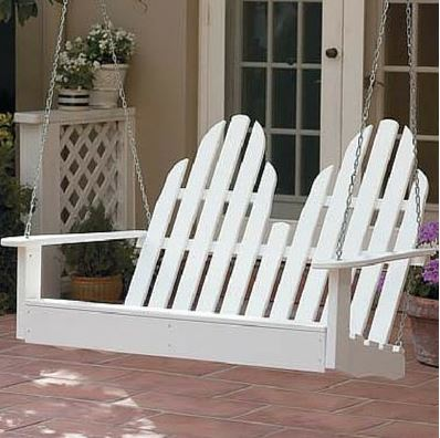 four foot white Adirondack porch swing from amazon.com