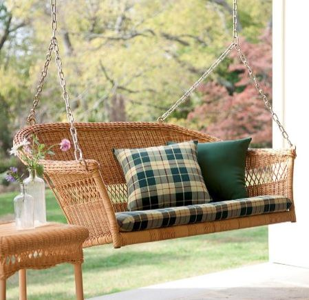 wicker porch swing from from Amazon.com