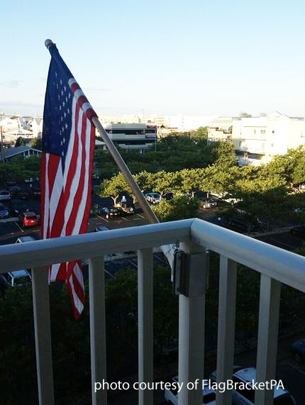 American flag flying from balcony
