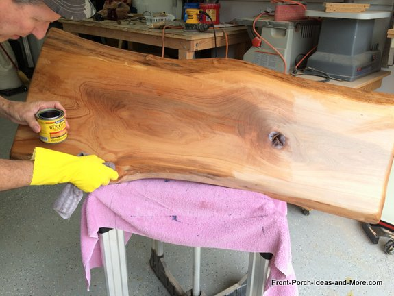 applying a clear stain for wood grain