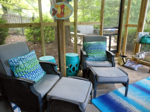 The screened porch at Dana and Brooks home