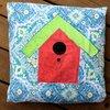 spring birdhouse pillow topper
