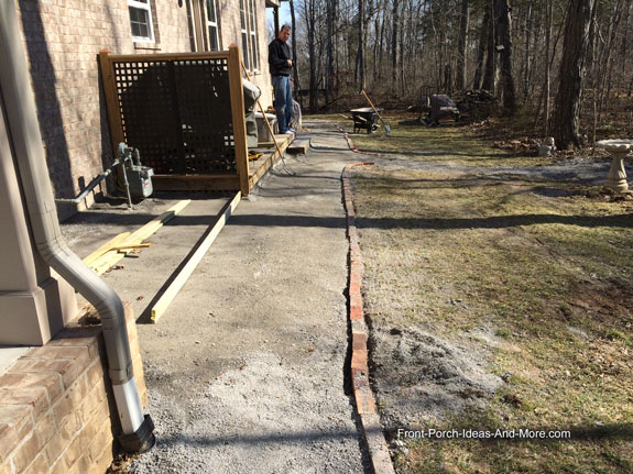 brick edging installed along pathway