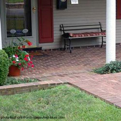 front porch with brick flooring