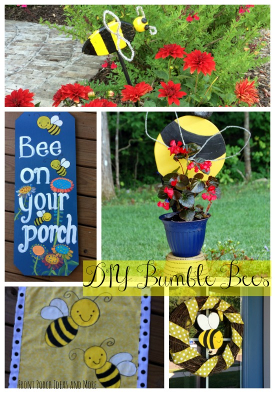 collage of bumble bee diy yard and porch art