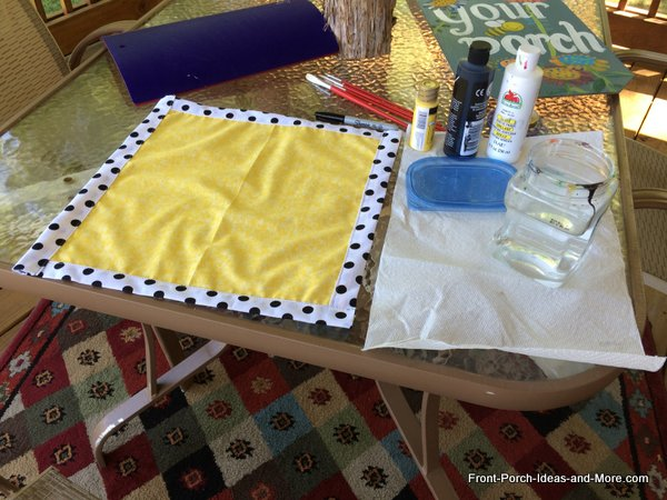 Materials you will need to make a bumble bee pillow topper