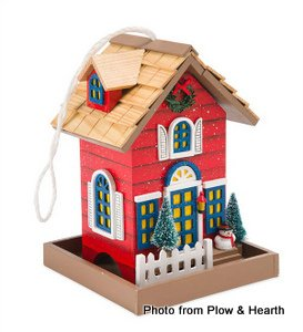 Christmas cottage bird feeder from Plow and Hearth