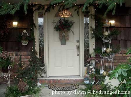 Christmas greenery around the front door