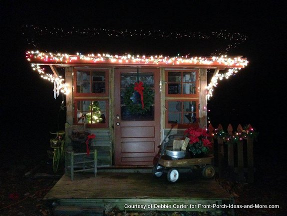 Fia's playhouse decorated for Christmas 2014