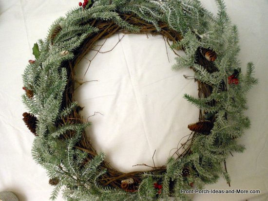 frosted garland on grapevine wreath