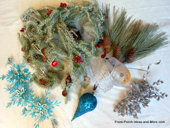 Materials for a vintage style Christmas wreath we made for our front door. These were attached to a grapevine wreath we already had. More pictures and easy instructions on Front Porch Ideas and More