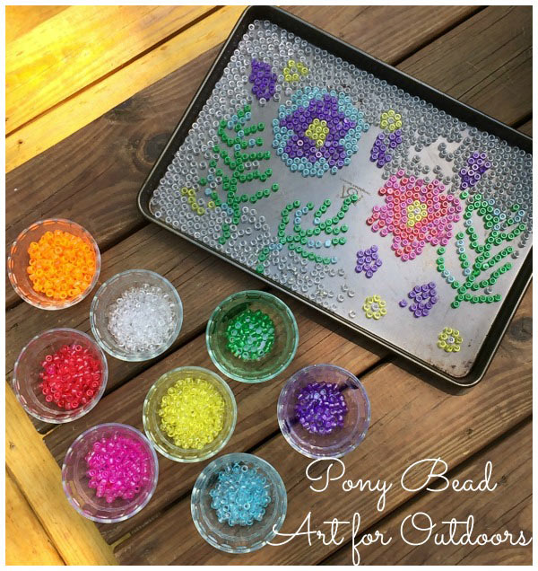 We made some cool garden art from pony beads. It was nearly a fail!