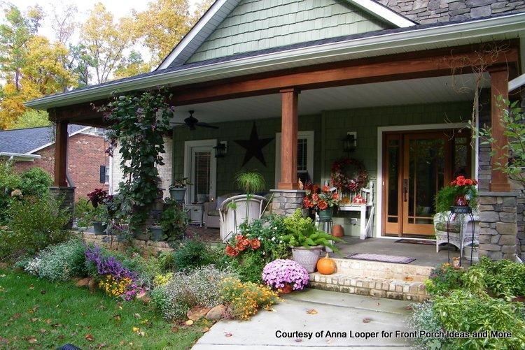 Craftsman style porch with stone pedestals