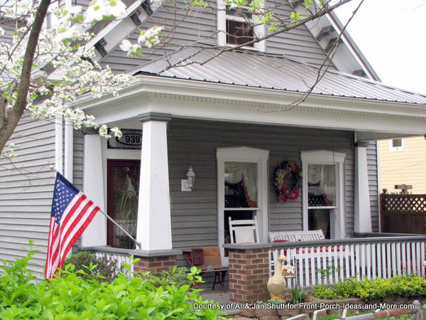 craftsman style front porch columns on home in madison indiana