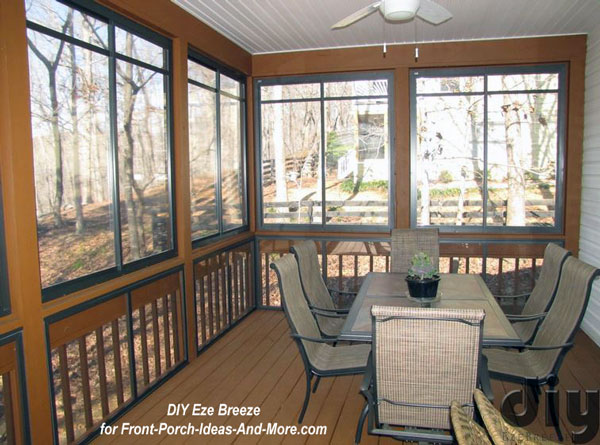 back deck converted to porch enclosure with DIY Eze Breeze windows