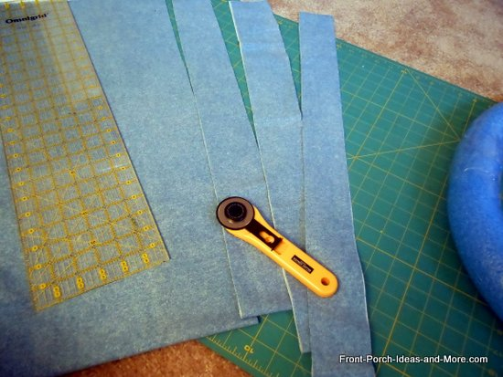 Cut or tear denim into strips - about 2 or 3 inches