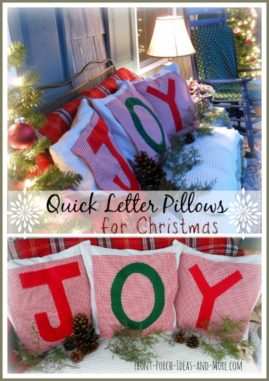 red and white Christmas pillows that spell JOY