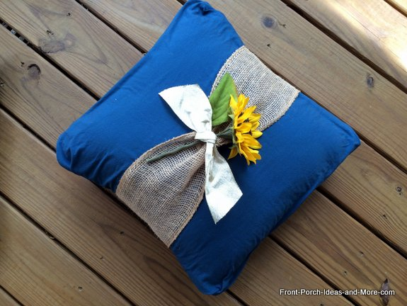 No-sew pillow is easily made by wrapping fabric around a ready-made pillow and pinning in the back.