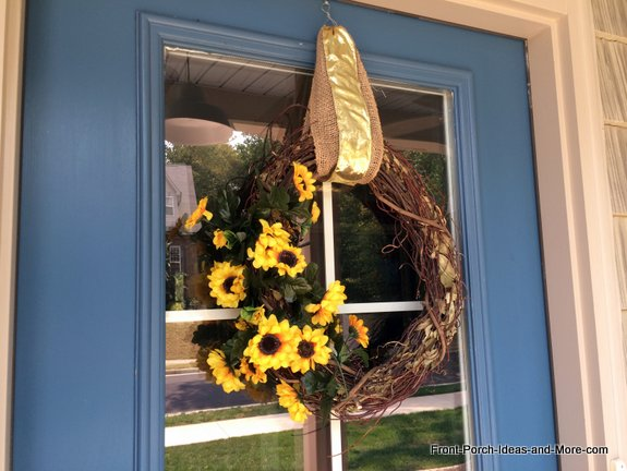 Sunflower wreath on our front door is super simple to make