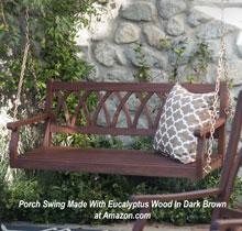 Four foot eucalyptus wood swing in dark brown at Amazon