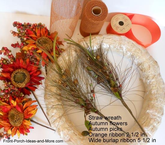 what you need to make the autumn splendor wreath