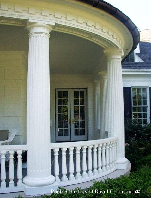 Royal Corinthian® Fiberglass fluted columns on front porch