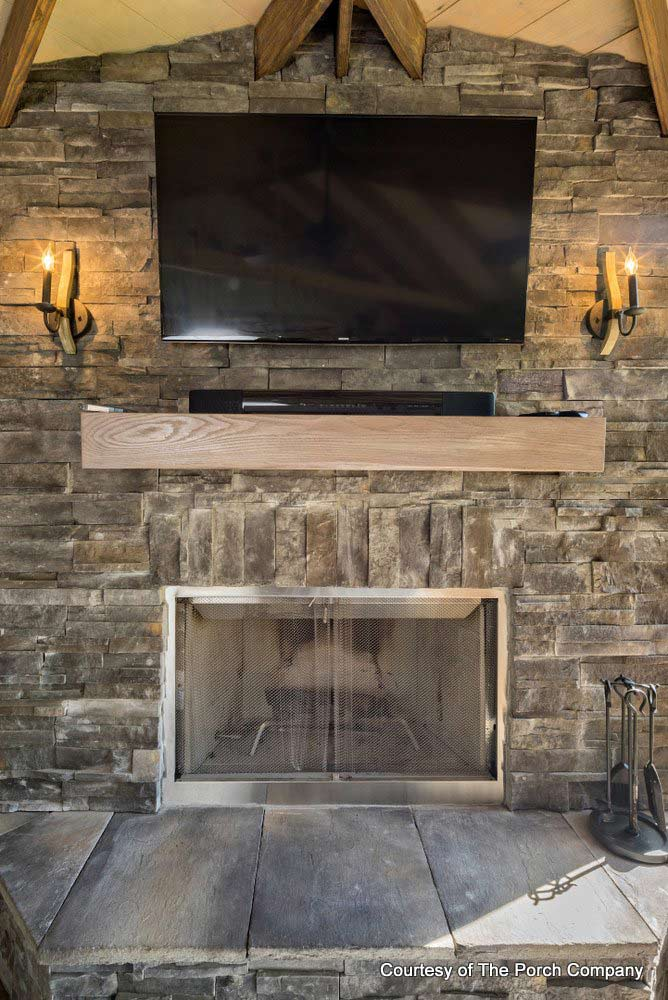 The Porch Company's stone fireplace with mantel shelf