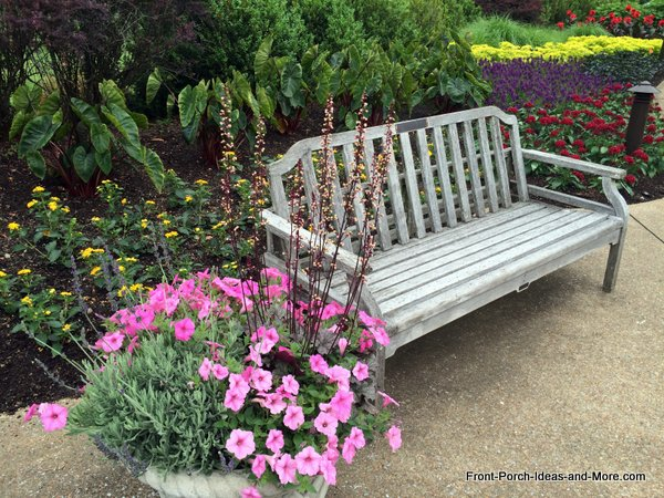 weathered wooden near flower gardens